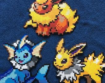 Pokemon Eeveelutions Figure / Flareon / Vaporeon / Jolteon Perler Bead Figures