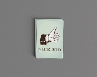 Vintage Thumbs Up Nice Job Card or Print