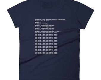 Jurassic Park Security Interface Code Developer 90s Kid Nerd Women's short sleeve t-shirt