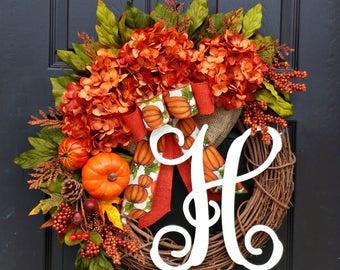 Fall Wreath,Front Door Wreath,Grapevine Wreath,Wreath for Door,Monogram Wreath,Hydrangea Wreath,Fall wreath for Front Door, Orange Wreath
