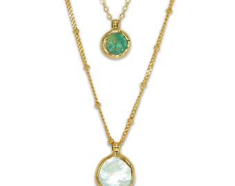 Gemstones Necklace, Layering Necklace, Pearl Necklace, Turquoise Delicate Necklace, Double Strand Necklace, Women Gift, By Inbal Mishan.