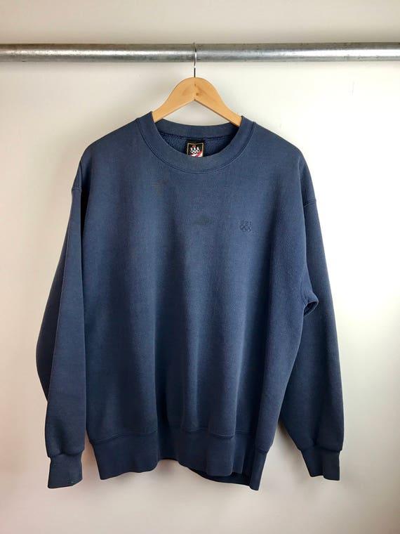 Vintage Men's Navy Crew Neck Sweatshirt