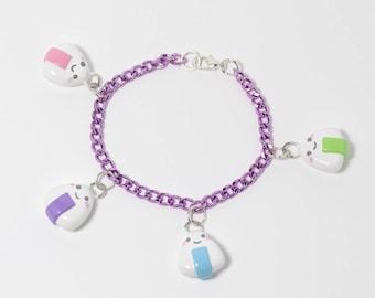 Kawaii Onigiri Charm Bracelet - Polymer Clay Charms - Rice Ball Charms - Fairy Kei - Kawaii Jewelry - Pastel Charm - Aluminum Charm Bracelet