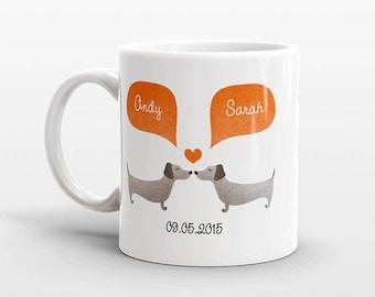 DACHSHUND Mug Couple Mug Anniversary Gift for Men Valentines Day Gift for Him for Her Wiener Dog Coffee Mug Personalized Mug Cup Animal Mug