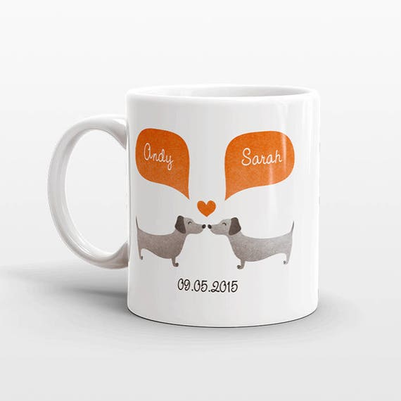 DACHSHUND Mug Couple Mug Anniversary Gift for Men Valentines Day Gift for Him for Her Wiener Dog Coffee Mug Personalized Mug Cup Animal Mug