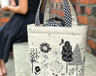 Insulated Drawstring Lunch Bag/Lunch Bag with Bottle Holder/Handmade Lunch Bag/Lunch bag for women/ tote bag