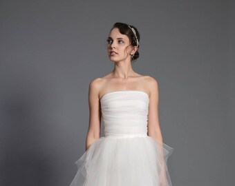 tulle corset - wedding separates - bridal top - ecru wedding top - off white bridal -2 piece dress - wedding collection - tube top