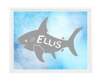 Shark Wall Art, Boy Room Decor, Shark Bathroom Print, Blue, Gray, Personalized, Boy Nursery, Boy Bathroom, Kids Bathroom, Shark Print, Gift