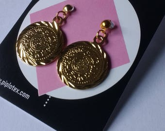 1950s style gold tone coin earrings