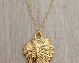 14k Gold Filled Necklace, Gold Necklace, Chain Necklace, Tribal