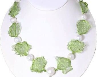 Cultured Pearls Wire Mesh Necklace