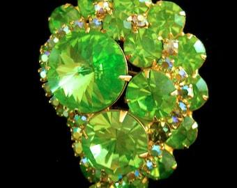 Juliana D&E Rivoli Peridot Brooch, Green Rhinestones, ABs, Vintage