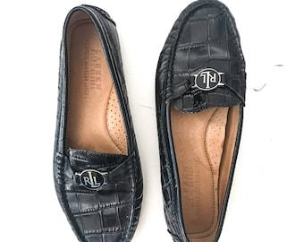 90s Shoes VINTAGE Shoes RALPH LAUREN Vintage Ralph Lauren Shoes Loafers Women Loafers Size 8 Black Loafers Black Shoes Vintage Loafers Flat