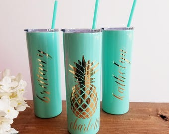 Pineapple Tumbler, 20oz Skinny Stainless Steel Cup, Monogram Pineapple Cup, Custom Pineapple Gifts, Gift for Her, Custom Gift Personalized