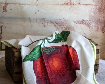 Red and Green Tomato Botanical Cotton Flour Sack Tea Towel  Eco Friendly