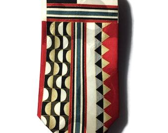 Vintage Silk Geometric Print tie, silk neckties, vintage neckties, mens ties, geometric tie, silk ties