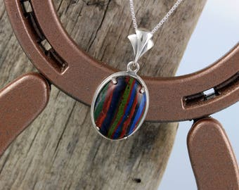 Sterling Silver Pendant/Necklace-Rainbow Calsilica Pendant/Necklace - 25mm x 18mm Rainbow Calsilica Stone in a Sterling Silver Setting