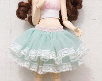 Mint green lace tulle skirt for Minifee and similar sized dolls