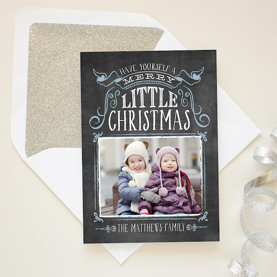 Photo Christmas Card, Chalkboard Greeting Cards, Vintage Hand Lettering Holiday Photo Card, Christmas Chalkboard Cards - Chalk and Snow