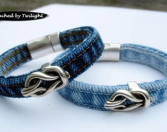 Denim Single Wrap Bracelet with Antique Silver Open Knot Slider - Handcrafted from Blue Jeans - Magnetic Clasp - Upcycled Jean Bracelet