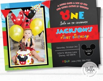 Mickey mouse Invitation, Mickey Mouse Clubhouse, Mickey mouse invite, Mickey invitation, Mickey Invite, Photo invitation, Birthday (M3)