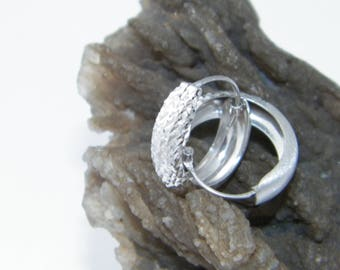 Handcrafted 925 Sterling Silver Hoop Earrings Satin,Diamond Cut Finish Rhodium Plated