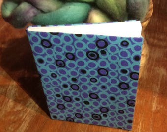 Hand Bound Journal - Blue-purple dots print cover - lined paper