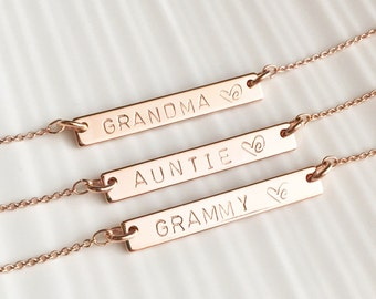 Silver, Rose Gold , 16k Gold Plated Custom Name Bar Necklace • Grandma Gift • Initial Necklace • Gifts For Her •Auntie Gift • Godmother Gift