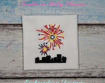 Fireworks over Town Fourth of July Patriotic Vintage Bean Stitch and Applique Boy Girl Design File for Embroidery Machine Instant Download