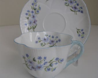 Vintage Shelley Hand Painted Tea Cup and Saucer - BLUE ROCK #13591 - English Bone China - Ludlow Fluting