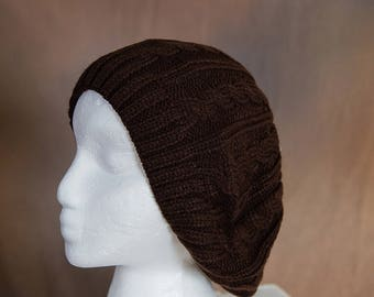 Brown Slouch/Beret Hand Knit Hat