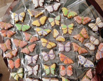 Butterfly icing decorated art-cookies, 4 pieces.Hungarian gingerbread