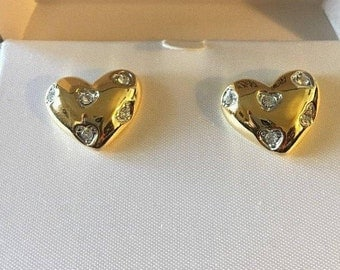 Nolan Miller Heart Earrings - Gold Tone with Crystals  - Pierced - S2298