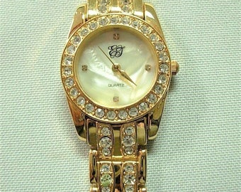 Elizabeth Taylor White Diamonds Watch - Gold Tone with Mother of Pearl IOB- S2401