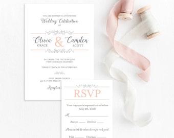 Classic Wedding Invitation, Wedding Invitations Vintage, Beautiful Wedding Invitations, Wedding Invite Set, Invitation Sets