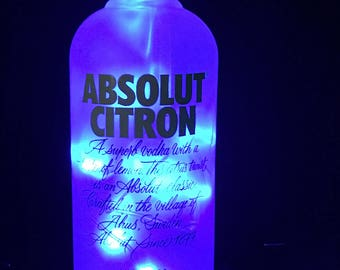 Absolut Citron with Blue LED String Lights