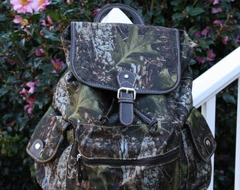 Ladies Monogrammed Camo Shoulder Backpack Purse