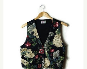 ON SALE Vintage Floral Cotton vest from 80's/ Hippies/boho*