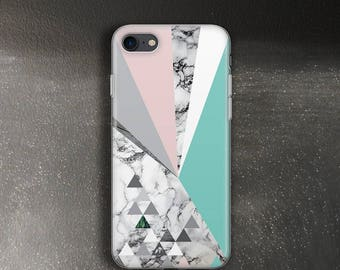Pastel and marble case for iPhone 7 Case for iPhone 7 Plus Case elastic rubber for iPhone SE Case mint pink for iPhone 5c