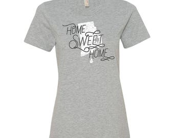 Rhode Island Home Sweet Home - State Pride Womens Ringspun T Shirt - Heather Grey