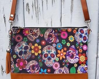 Candy Skull & Flower Handbag - Mexican Skeleton Sugar Day of the Dead Bag Brown