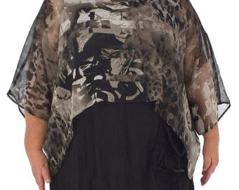 HZ200TP top cover layered chiffon between part gr. 38-48 taupe
