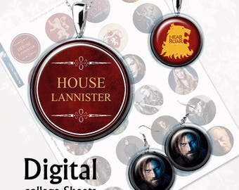 Game of Thrones House of Lannisters Digital Collage Sheet  1,5 inch, 1 inch, 15 mm Jewelry Supplies, Bottle Caps, Crafts, Scrapbooking