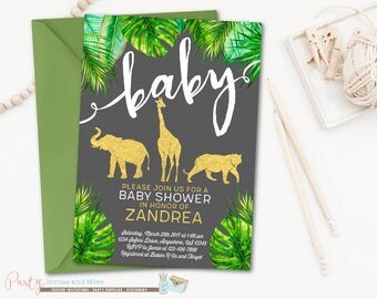 Jungle Baby Shower Invitation, Safari Baby Shower Invitation, Animal Baby Shower Invitation, Jungle Invitation, Safari Invitation