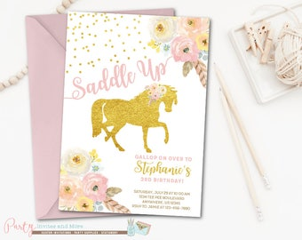Horse Invitation, Horse Birthday Invitation, Pony Birthday Invitation, Pony Invitation, Cowgirl Birthday Invitation, Cowgirl Inviation