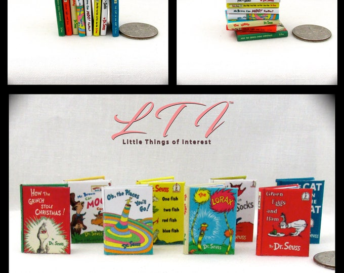 DR. SEUSS set of 8 Dollhouse Miniature Books 1:12 Scale Books 1 Inch Scale Readable Color Illustrated Cat in the Hat Green Eggs and Ham