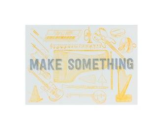 MUSIC Make Something Letterpress Print / 5x7 Print / Gift for Musicians / Silver Art / Orange Art / Stocking Stuffer / Gag Gift / Small Art