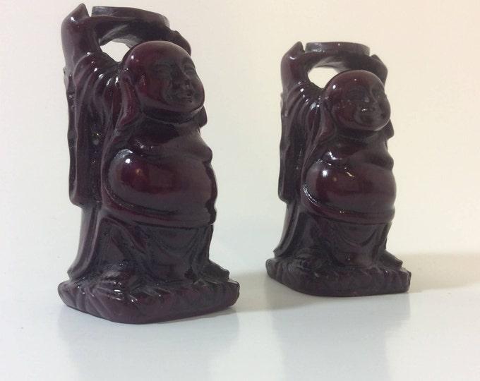 Minitaure red resin buddhas, vintage buddhas, tiny little pair of buddhas