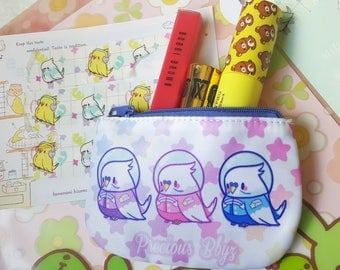 Kawaii Astro Birb Coin Purse | Mini Fairy Kei Galaxy Inspired Coin Purse for cards, cash, and more!