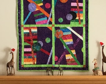 Modern Abstract Quilt, Contemporary Quilt, Quilted Wall Hanging,  Wall Art, Modern Art, Quilt Art, Fiber art